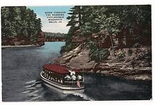 Tour Boat GOING THROUGH THE NARROWS Picturesque WISCONSIN DELLS  Postcard WI