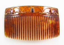 Ladies Antique 10K Gold Victorian Faux Tortoise Shell Paste Amethyst Hair Comb