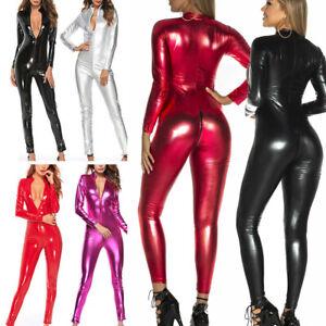 Women's Faux Leather Wetlook Zip Crotch Clubwear Catsuit Jumpsuit Fetish Costume