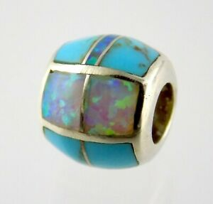 Sterling Silver Pink Simulated Opal and Stabilized Turuqoise Inlay Slide Charm