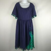 Kate Spade Peacock Plume Cotton Poplin Dress Deep Sea Blue Tassels Pockets Sz 10