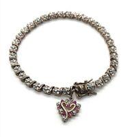 """Ross Simons Sterling Silver Bracelet 925 Pink Topaz Heart Charm Tennis 7"""""""