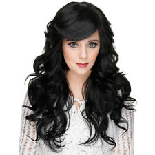 Woman's Long Curly Wavy None Lace Full Wig 100% Real Human Hair 22inch Black