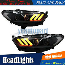 For 2013-2015 Ford Fusion Racing Red Headlights Mustang Style With LED DRL