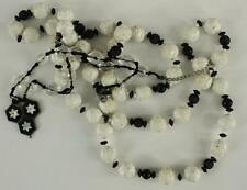Vintage Costume Jewelry Lot Necklace Black White Flower Faceted Plastic Bead 2PC