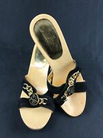 GUESS By MARCIANO Women's Gold /Black Open Toe Heeled Sandals Size 7.5