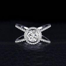 Halo Engagement Ring 14k White Gold Over 2Ct Bezel Set Round Cut Real Moissanite