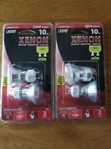 Lot of 2- Feit Electric 10w Xenon Halogen Bulbs GU10 Base - Package of 2