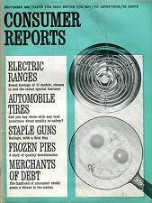 Consumer Reports Magazine September 1965 Electric Ranges VG No ML 090916jhe
