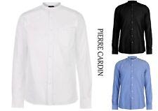 Mens Designer Pierre Cardin Smart Casual Grandad Collar Oxford Shirt Size M-XXL