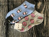Forever 21 Socks Coffee & Doughnut Print One Size Ankle Cotton Blend Two Pairs