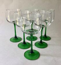 "Lot 6 Luminarc White Wine Hock Glasses Large Green Stem France Vintage 7"" H"