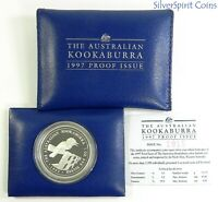 1997 KOOKABURRA PROOF 1oz Silver Coin in Wallet