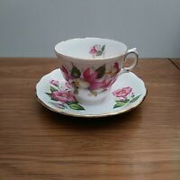Royal Vale bone china Teacup & Saucer with Pink Flowers made in England