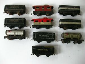 """Lot of 10 """"O"""" Scale Marx Metal Train Cars, not all perfect"""