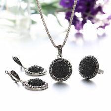 Style Black Rotundity Gravel Resin Necklace Earrings Finger Ring 4 Pcs/Set
