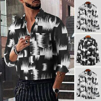 Mens Casual Floral Printed Tee Long Sleeve Vacation Hawaiian Shirts Tops Blouse