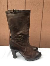 EUC $268 FRYE Miranda Boots Dark Brown Distressed Slouch Leather US 8M Mid-Calf