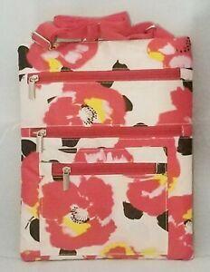 "Hibiscus Flower Bag Red White Crossbody Tablet Cruise Beach Summer Travel 11x9"""