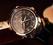 Men`s Yazole Rose Gold Quartz Black Dial Genuine Black Leather Band Wrist Watch.