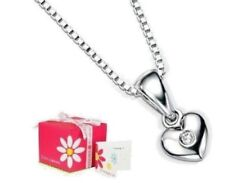 D for Diamond Sterling Silver Diamond Heart Pendant & Chain with Gift Box