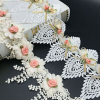 1Y Embroidered Lace Trim Flower Ribbon Wedding Dress Clothing Sewing Edging DIY