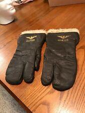 RARE WW2 WWII USN Leather Wool Pilot/Gunner Gloves/Identified/Marked USN