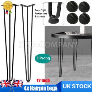 Home Hairpin Legs Set of 4 Legs - 12 inch + FREE Screws, Floor Protectors UK
