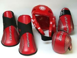 Mighty Fist Taekwondo Sparring Red Equipment Gloves, Boots And Head Guard ITF