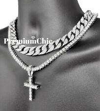 Mens Cross Pendant Tennis Necklace + Miami Cuban Choker SET Gold /Silver Plated