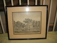Antique Middlesex County NJ Paper Print Of Courthouse New Brunswick Framed