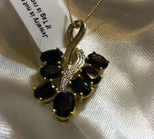 4.25 Ct, Black Spinel Pendant, 14K Gold Overlay Sterling Silver
