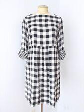 NWOT J Jill Black Buffalo Check Rayon Twill Relaxed Fit Dress Tab Slv Pockets XS