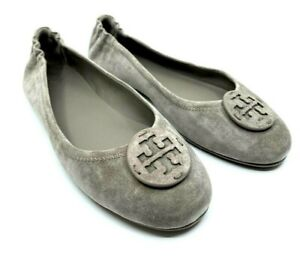 Tory Burch NEW Minnie Travel Ballet Gray Heron Suede Slip In Rubber Sole Size 11