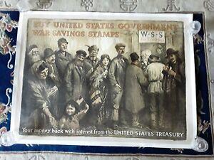 Original 1917 WW1 World War 1 Saving Stamps Uncle Sam Poster Linen Backed Rare