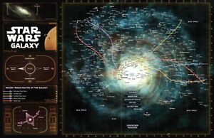 Star Wars Galaxy Map Illustration - Movie Film Pop Home Decor Poster  - No frame