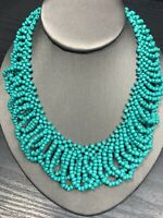 """Vintage Wide Woven Turquoise  Seed Bead Bib Statement Necklace 16"""" Boho"""