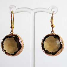 Gold Brown Round Faceted Crystal Earrings