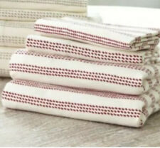 NEW Ballard Designs Dotted Reese Stripe King Flannel Sheet Set Ivory & Red