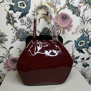Lulu Guinness Pollyanna Patent Leather HandBag/Black Cheery/Defective/(Box-53)