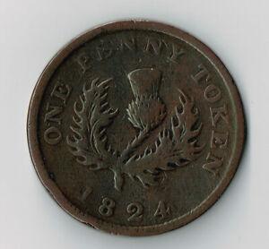 1824 PROVINCE OF NOVA SCOTIA ONE PENNY TOKEN - NS2A2