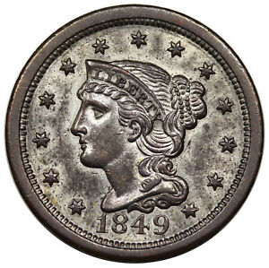 1849 Silver Plated Braided Hair Large Cent Coin 1c