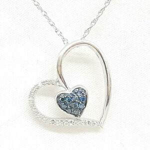 Genuine .34ctw Fancy Blue & H-SI Diamond 925 Sterling Silver Heart Necklace 3.9g