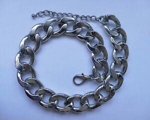 Breite Halskette Collier Metall versilbert Vintage 90er a necklace