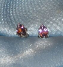 BEAUTIFUL 6MM X 4MM PEAR SHAPE  AMETHYST-HANDCRAFTED- .925 STERLING SILVER STUDS