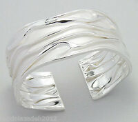 NEW Solid Sterling Silver CRINKLED Cuff Bangle Bracelet 25g Couture BEAUTY