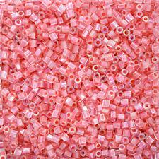 Miyuki Hex Cut Seed Beads Size 8/0 Salmon Lined Crystal AB 12g (Q12/3)