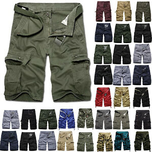 Men Cargo Shorts Loose Short Pants Army Summer Casual Pockets Military Trousers