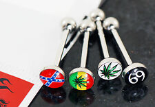 1 PK Of Pot Leaf Flag Logo Epoxy Dome Ball Surgical Steel Bar Tongue Rings 14g