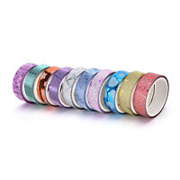 10x DIY Self Adhesive Glitter Washi Masking Tape Sticker Craft Decor 15mmx3m New